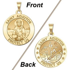 Saint Adjutor Doubles Sided Surfing Round Religious Medal    EXCLUSIVE
