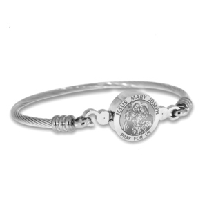 Stainless Steel Jesus Mary Joseph Bangle Bracelet