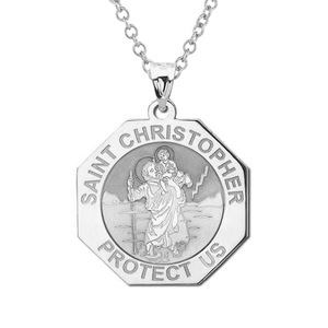 Saint Christopher Perfect Octagon Religious Medal    EXCLUSIVE