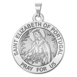 Saint Elizabeth of Portugal Round Religious Medal  EXCLUSIVE