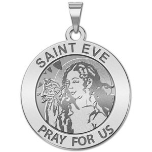 Saint Eve Round Religious Medal  EXCLUSIVE