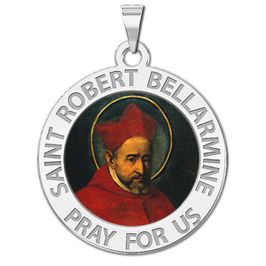 Saint Robert Bellarmine Round Religious Medal Color
