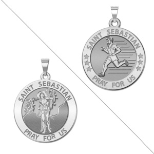 Male Track and Runner   Saint Sebastian Doubledside Sports Religious Medal  EXCLUSIVE