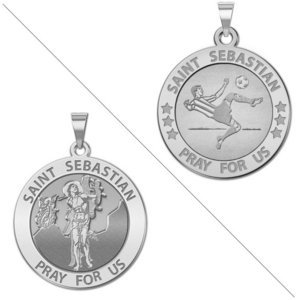 Male Soccer   Saint Sebastian Doubledside Sports Religious Medal  EXCLUSIVE