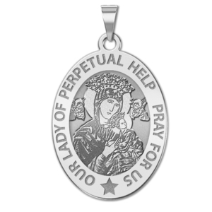 Our Lady of Perpetual Help Religious Medal  OVAL  EXCLUSIVE