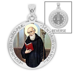 Saint Benedict Round Religious Medal   Color EXCLUSIVE