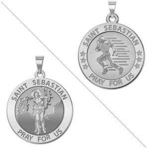 Football   Saint Sebastian Doubledside Sports Religious Medal  EXCLUSIVE