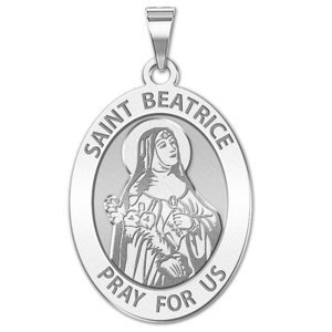 Saint Beatrice OVAL Religious Medal   EXCLUSIVE