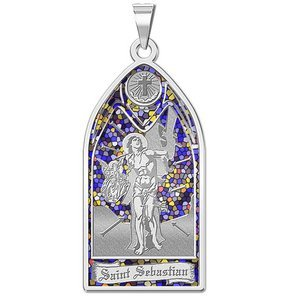 Saint Sebastian   Stained Glass Religious Medal  EXCLUSIVE