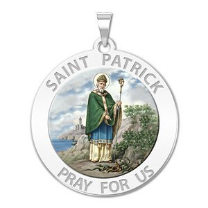 Saint Patrick Religious Medal  Color EXCLUSIVE