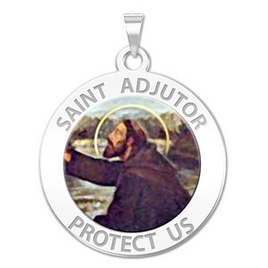 Saint Adjutor Round Religious Medal   Color  EXCLUSIVE