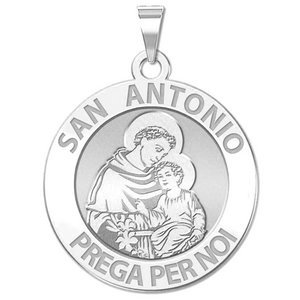 Saint Anthony ITALIAN Round Religious Medal  EXCLUSIVE