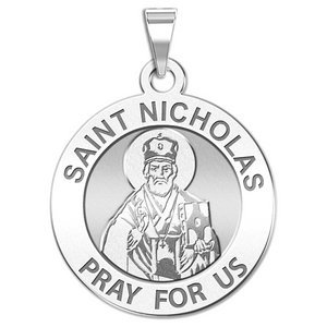 PicturesOnGold.com Saint Nicholas Oval Religious Medal Color 3//4 Inch X 1 Inch in Solid 14K Yellow Gold