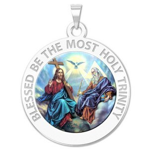 Holy Trinity Round Religious Medal   EXCLUSIVE Color