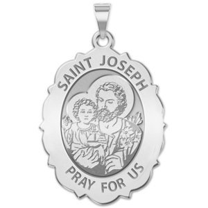 Saint Joseph Religious Scalloped Oval Medal  EXCLUSIVE