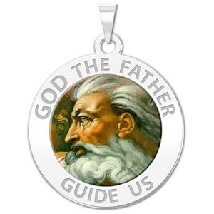 GOD the Father Round Religious Medal  Color EXCLUSIVE