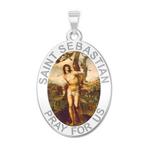 Saint Sebastian   Oval Religious Medal  Color EXCLUSIVE