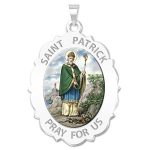 Saint Patrick Religious Medal Scalloped OVAL  Color EXCLUSIVE