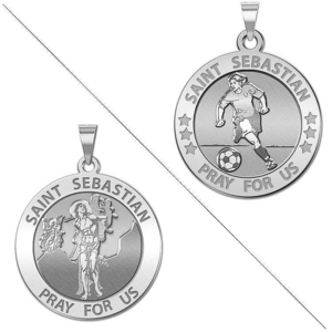 Female Soccer   Saint Sebastian Doubledside Sports Religious Medal  EXCLUSIVE