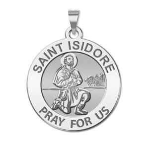 Saint Isidore Round Religious Medal