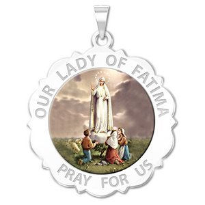 Our Lady of Fatima Scalloped Round Religious Medal   Color EXCLUSIVE