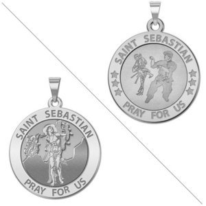 Karate   Saint Sebastian Doubledside Sports Religious Medal  EXCLUSIVE