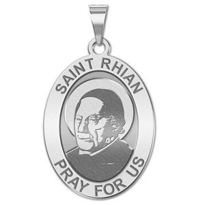 Saint Rhian   Oval Religious Medal  EXCLUSIVE