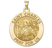 Saint Charles Borromeo w  Angels Round Religious Medal    EXCLUSIVE