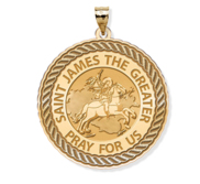 Saint James the Greater Round Rope Border Religious Medal