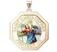 Saint Christopher Three Dimensional Premium Weight  Octagon Religious Medal    Color EXCLUSIVE