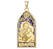 Saint Joseph   Stained Glass Religious Medal  EXCLUSIVE