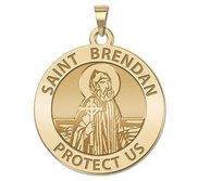 Saint Brendan Round Religious Medal    EXCLUSIVE