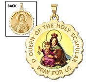 Scapular Scalloped Round Religious Medal  Color EXCLUSIVE