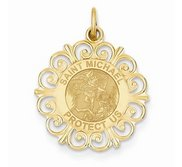 Saint Michael Round Filigree Religious Medal   EXCLUSIVE