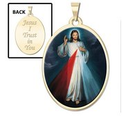 Divine Mercy Double Sided Oval Religious Medal   Color EXCLUSIVE