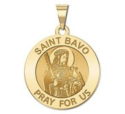 Saint Bavo Round Religious Medal  EXCLUSIVE
