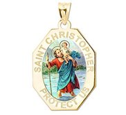 Saint Christopher Long Octagon Religious Medal   Color EXCLUSIVE