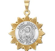 Saint Joseph Two Tone Sun Border Religious Medal  EXCLUSIVE