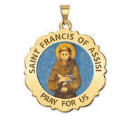 Saint Francis of Assisi Scalloped Round Religious Medal  Color EXCLUSIVE