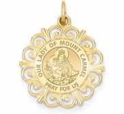Our Lady of Mount Carmel Round Filigree Religious Medal   EXCLUSIVE