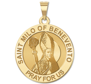 Saint Milo of Benevento Round Religious Medal   EXCLUSIVE