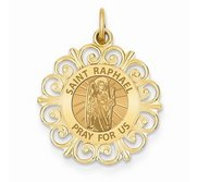 Saint Raphael Round Filigree Religious Medal   EXCLUSIVE