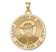 Saint Damien of Molokai Round Religious Medal   EXCLUSIVE
