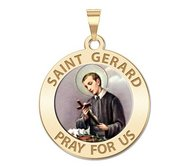 Saint Gerard Round Religious Medal  Color EXCLUSIVE