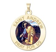 Saint Andrew Round Religious Medal  Color EXCLUSIVE