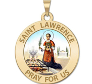 Saint Lawrence of Rome Round Religious Medal Color