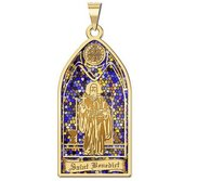 Saint Benedict   Stained Glass Religious Medal  EXCLUSIVE