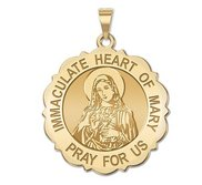Immaculate Heart of Mary Scalloped Religious Medal  EXCLUSIVE