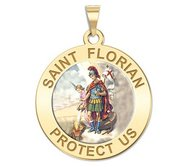 Saint Florian Round Religious Medal   Color EXCLUSIVE