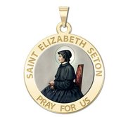 Saint Elizabeth Seton Round Religious Medal  Color EXCLUSIVE